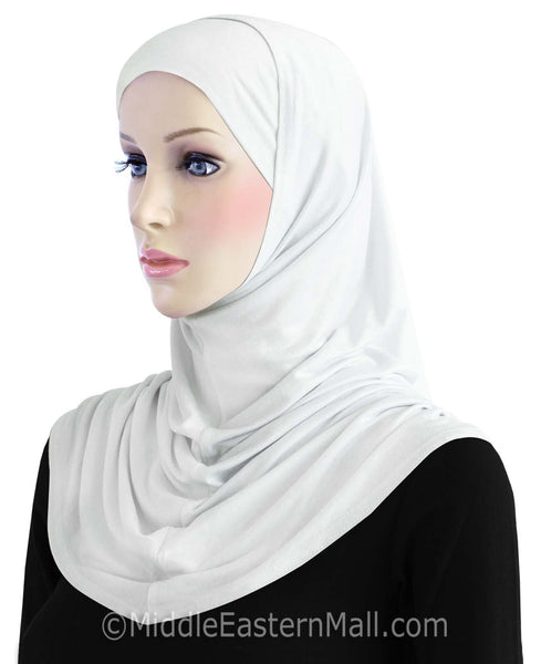 Wholesale 1 Dozen Khatib Cotton 2 piece Hijabs  STANDARD LENGTH in ALL White
