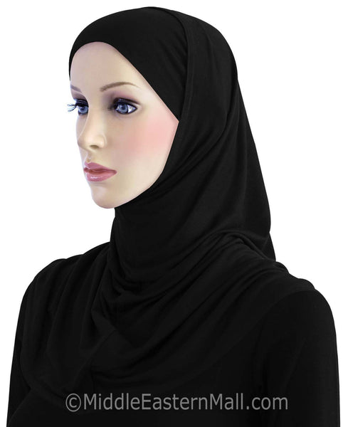 Wholesale 1 Dozen Khatib Cotton 2 piece Hijabs STANDARD LENGTH in ALL BLACK
