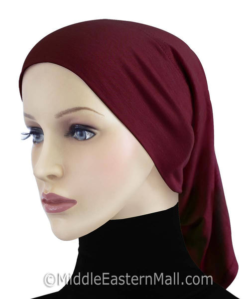 Maroon Extra Long Khatib Cotton Hijab Tube Cap