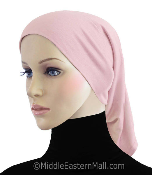 Pink Cotton Black Hijab Tube Cap