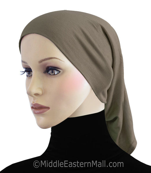 Tan Extra Long Khatib Cotton Hijab Tube Cap