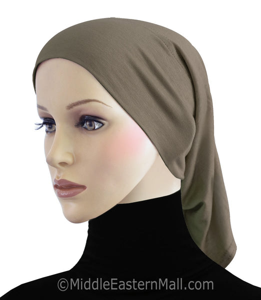 Tan Cotton Black Hijab Tube Cap