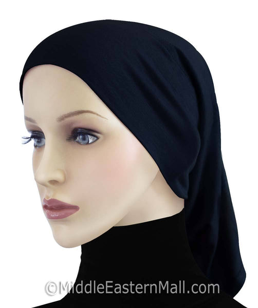 Midnight Blue Extra Long Khatib Cotton Hijab Tube Cap