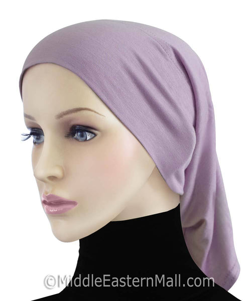 Lilac Cotton Black Hijab Tube Cap