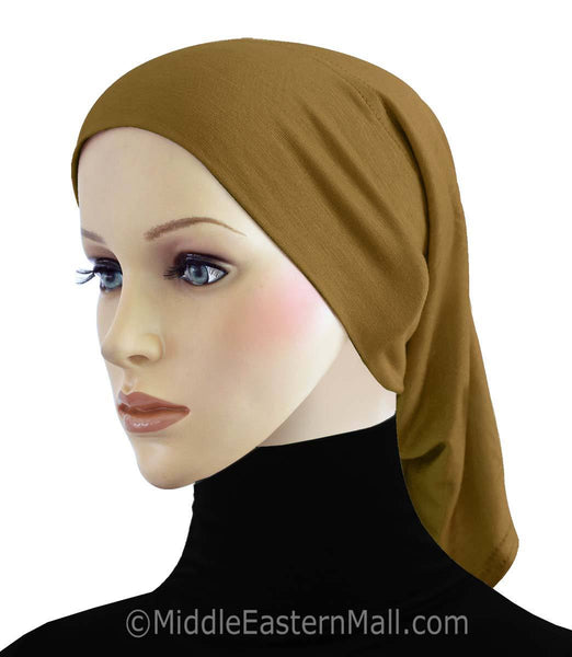 Bronze Cotton Black Hijab Tube Cap