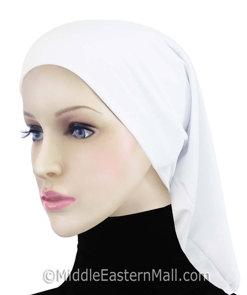 White Cotton Black Hijab Tube Cap