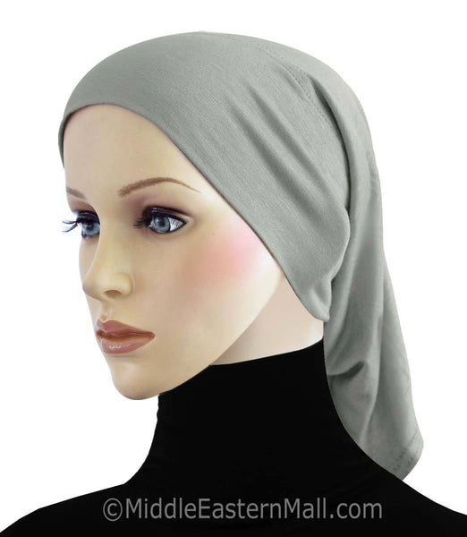 Gray Cotton Black Hijab Tube Cap