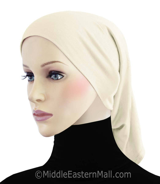 Ivory Cotton Black Hijab Tube Cap
