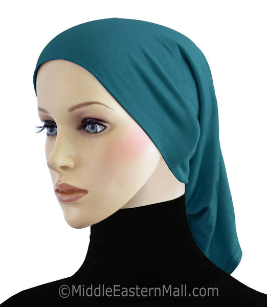Ocean Blue Cotton Black Hijab Tube Cap