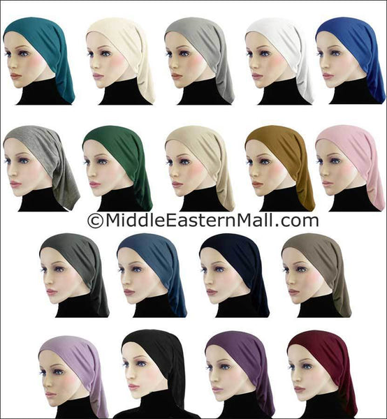 Wholesale Set of 12 Extra Long Cotton Hijab Caps Tubes 1 of each color