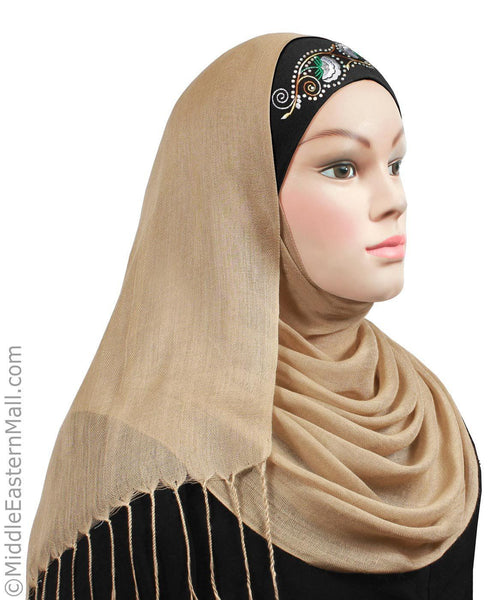 Set of 10 Hijab Cap Cotton Tube w/Embroidery 10 Colors