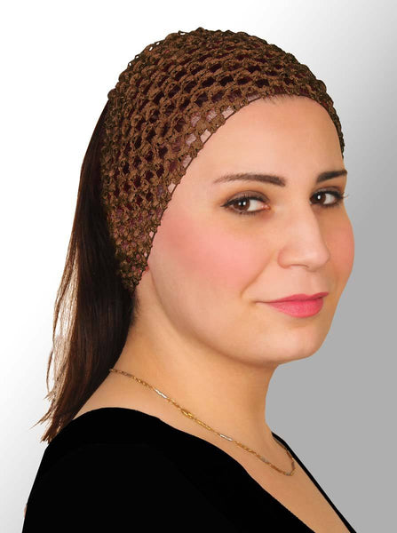 brown Crochet Headband Stretchy Elastic