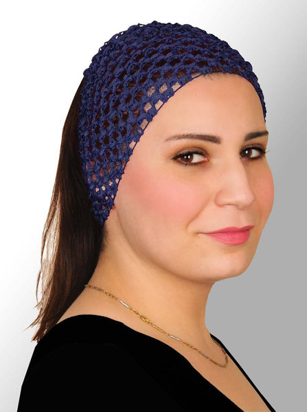 navy Blue Crochet Headband Stretchy Elastic