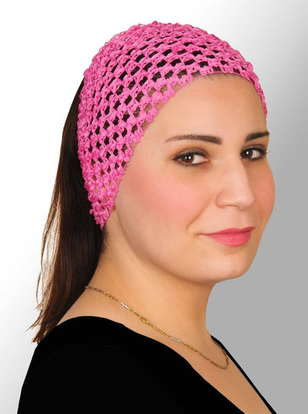 pink Crochet Headband Stretchy Elastic