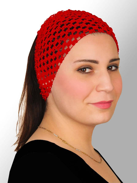 red Crochet Headband Stretchy Elastic