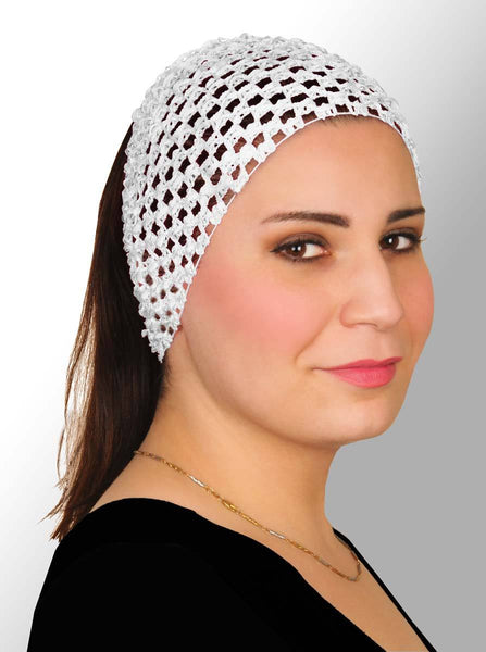 white Crochet Headband Stretchy Elastic