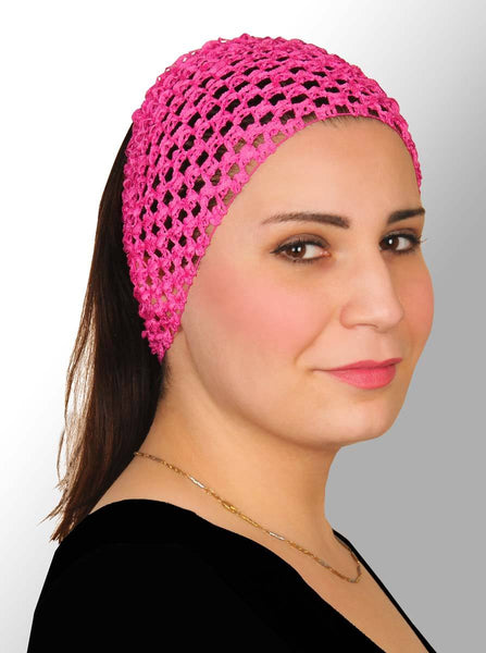 hot pink Crochet Headband Stretchy Elastic