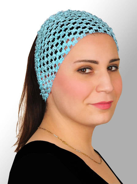 sky blue Crochet Headband Stretchy Elastic