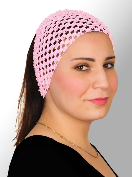 pink blush Crochet Headband Stretchy Elastic