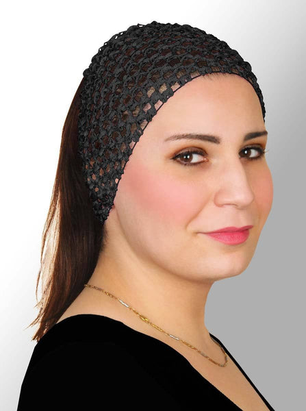 Elastic Crochet Headband in #1 Black - MiddleEasternMall
