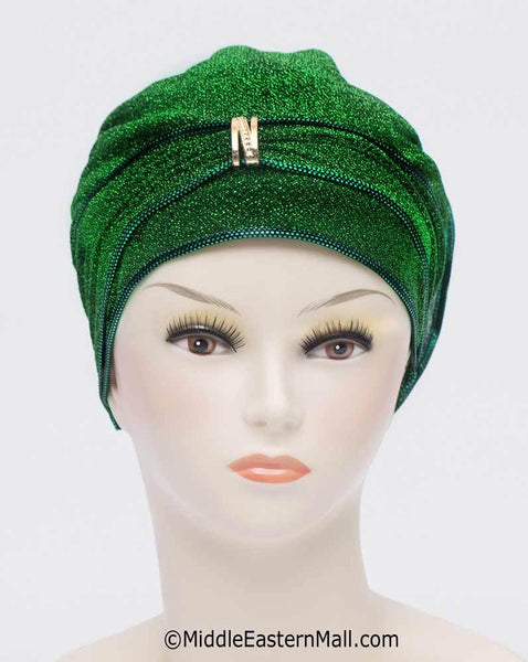 Emerald Green Dazzle Hijab Caps