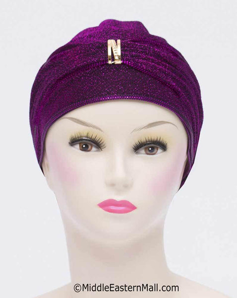 Purple Dazzle Hijab Caps