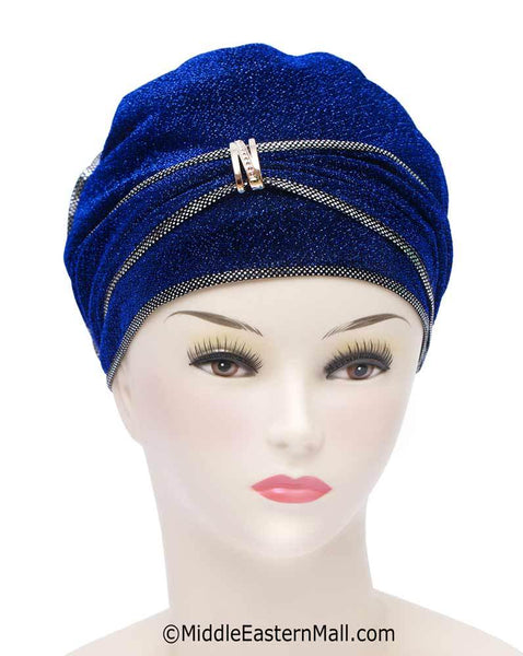 Royal Blue Dazzle Hijab Caps