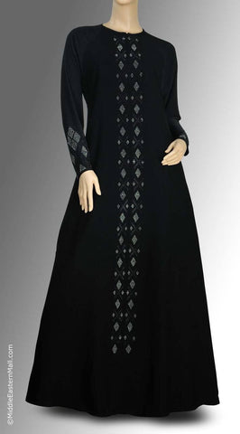 Iman Abaya with Diamond Silver Stones Design  SIZE XSMALL#1 - MiddleEasternMall - 1