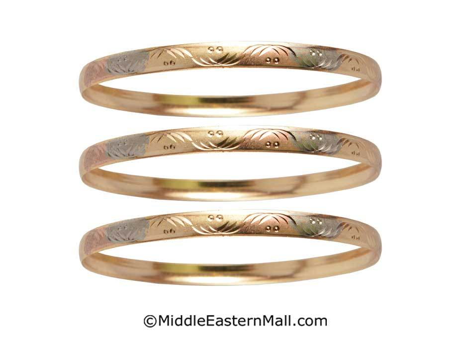 Tri-Color Bangle Bracelets Oro Laminado Set of 3 Gold Plated one year warranty #9