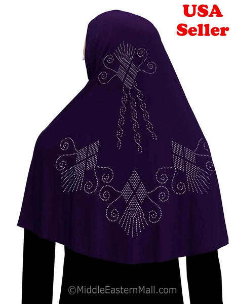 Khimar Hijab 1 piece Poly Amira with Stones Diamond Design