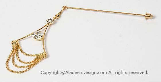 Chandelier Design Hijab Pin  # 7 in Gold - MiddleEasternMall