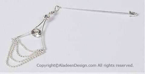 Chandelier Design Hijab Pin  # 8 Silver-tone - MiddleEasternMall