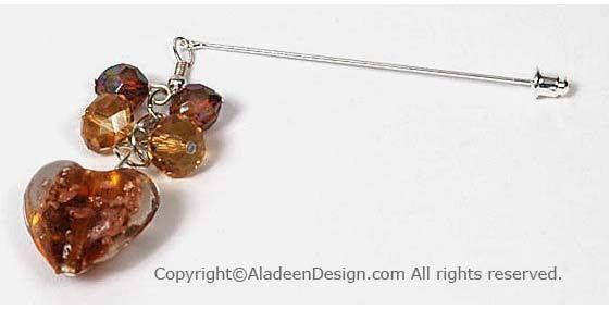 Heart's Desire Hijab Pin  # 9 in Amber - MiddleEasternMall