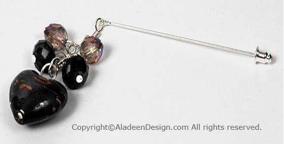 Heart's Desire Hijab Pin # 2 in Black - MiddleEasternMall