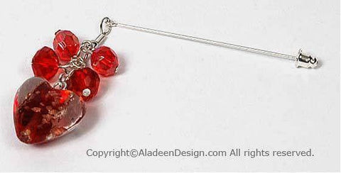 Heart's Desire Hijab Pin  # 3 in Ruby Red - MiddleEasternMall