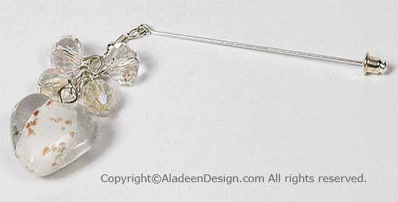 Heart's Desire Hijab Pin # 13 in Clear White - MiddleEasternMall