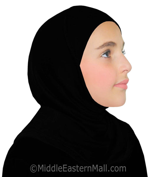 Set of 6 Girl's ALL BLACK Khatib Cotton 1 piece Hijab