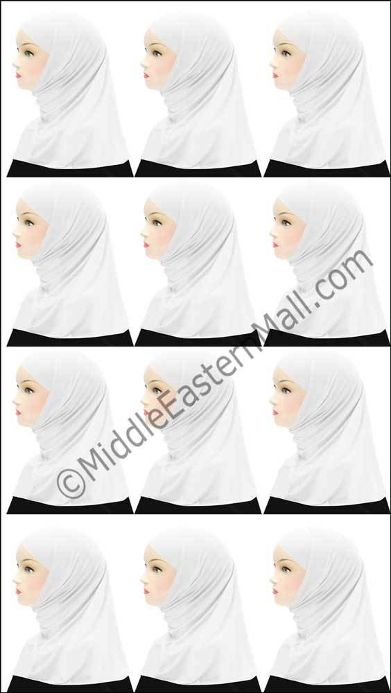 Wholesale 1 Dozen Girl's Khatib Cotton Hijabs 2 piece in ALL WHITE