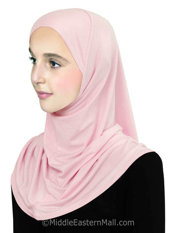 Girl's Pre-Teen Khatib Cotton Hijab 1 piece #3 Pink