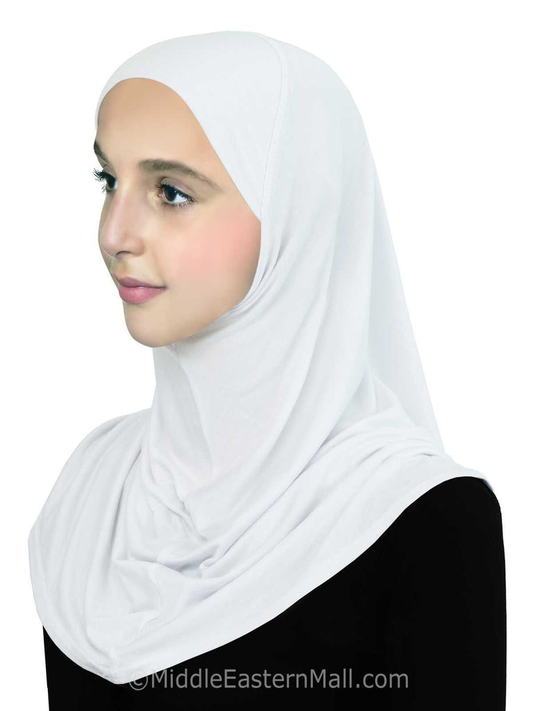 Wholesale 1 Dozen Girl's Pre-Teen Khatib Cotton 1 piece Hijab 12 ALL WHITE