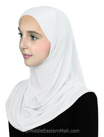 Girl's Pre-Teen Khatib Cotton Hijab 1 piece #8 White
