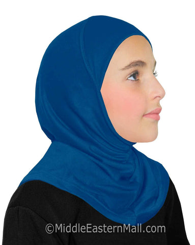 Khatib High Quality Cotton Girl's 1 piece Hijabs #10 Royal Blue