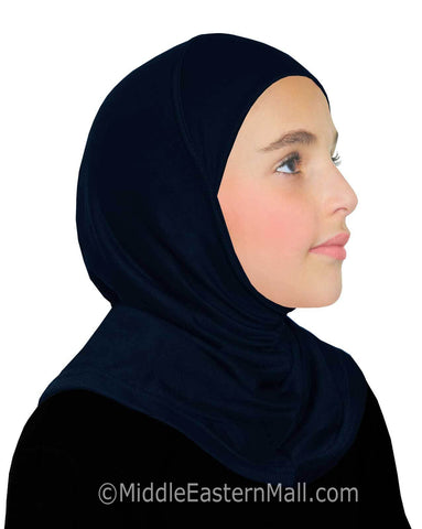 Khatib High Quality Cotton Girl's 1 piece Hijabs #11 Midnight Blue