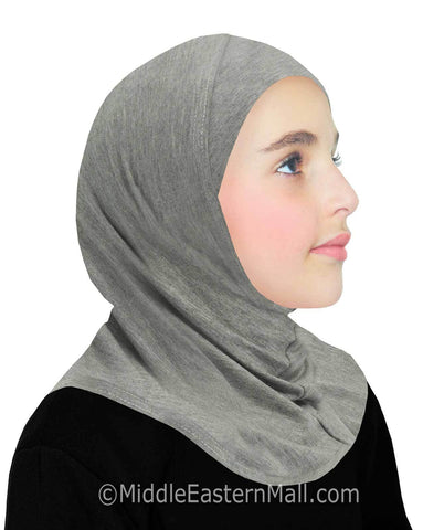 Khatib High Quality Cotton Girl's 1 piece Hijabs #12 Heather Gray