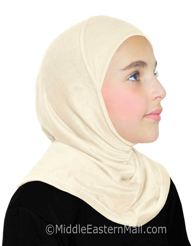 Khatib High Quality Cotton Girl's 1 piece Hijabs #2 Ivory