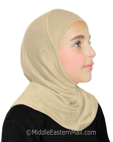 Khatib High Quality Cotton Girl's 1 piece Hijabs #3 Beige