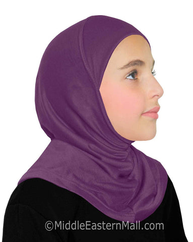 Khatib High Quality Cotton Girl's 1 piece Hijabs #5 Purple