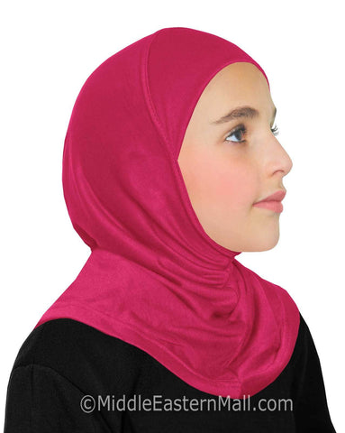 Khatib High Quality Cotton Girl's 1 piece Hijabs #6 Hot Pink