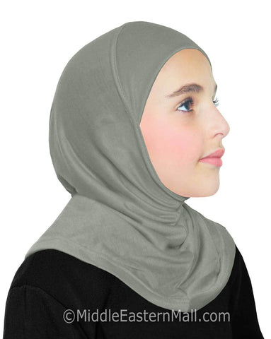 Khatib High Quality Cotton Girl's 1 piece Hijabs #8 Gray