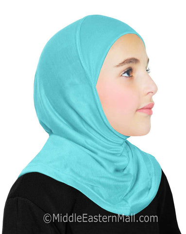 Khatib High Quality Cotton Girl's 1 piece Hijabs #9 Aqua Blue